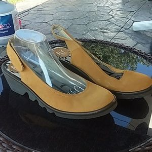 Fly London yellow suede slip on